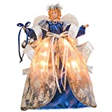Valery Madelyn Winter Wish 16.5 Inch Christmas Angel Tree Topper, White Angel Treetop with 10 LED Lights, Battery Operated (Not Included)