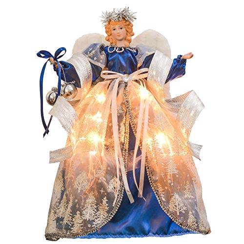 Valery Madelyn 16 Inch 10-Light Winter Wish Ivory Christmas Tree Topper Angel Treetop Decorations, Battery Operated (Not Included)
