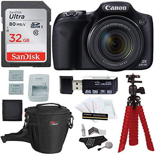 Canon PowerShot SX530 HS Digital Camera + Sandisk 32GB Memory Card + Tripod + Ritz Gear Bag + Card Reader + Cleaning Kit + Spare Battery Bundle ()