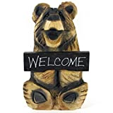"""18"""" Chainsaw Carved Sitting Bear - Welcome (Brown)"""