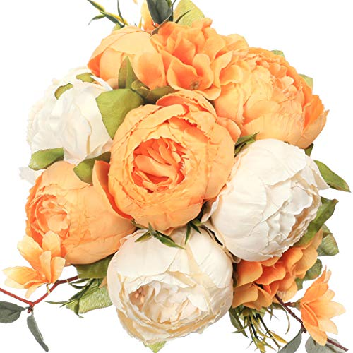 Luyue Vintage Artificial Peony Silk Flowers Bouquet Home Wedding Decoration (Spring Orange White)