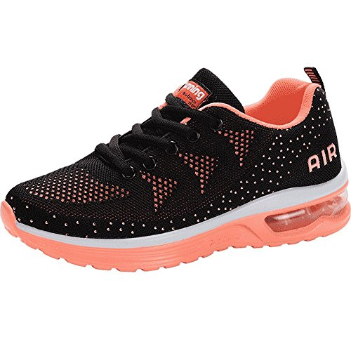 JARLIF Women's Lightweight Athletic Running Shoes Breathable Sport Air Fitness Gym Jogging Sneakers (8.5 B(M) US, BlackOrange)