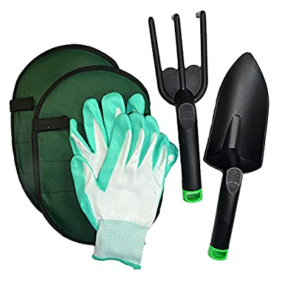 KSEVEN Gardening Tool Set for Home Garden, Lawn Care, Gardener's Protection. Kit includes Shovel, Rake, Knee Pads and Nitrile Coated Gloves. Designed for Ergonomic, Rust-Resistant & anti-fatigue.