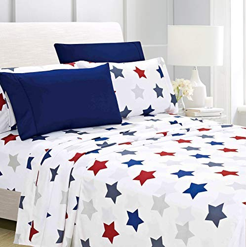 American Home Collection Deluxe 4 Piece Printed Sheet Set of Brushed Fabric, Deep Pocket Wrinkle Resistant - Hypoallergenic (Twin, Union Stars) (Union Printed)
