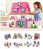 Loving Family Dollhouse SUPER MEGA BONUS Set - 7 Rooms of Furniture + Everything For Baby Included (Caucasian Family)