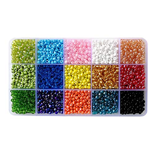 BALABEAD 6000pcs in Box 15 Colors Mixed 6/0 Glass Seed Beads for Jewelry Making Loose Spacer Beads, 4mm Round, Hole 1.2mm (15 Colors) ()