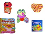 Children's Gift Bundle - Ages 0-2 [5 Piece] Includes: Giggling Elmo Hot Tomato Game, Circo Infant Girls Swim Diaper Pink Daisy Size XL 24 Months 25-30 lbs, Cupcake Cuties Sugar Loaf Plush Stuffed Ba
