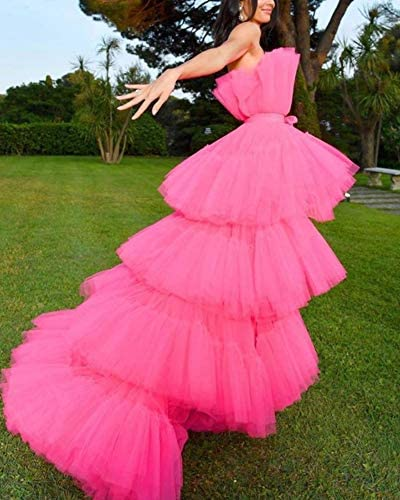 Miss ord Women Tiered Hot Pink Off Shoulder Mesh Long Dresses Female Bow Tulle Pageant Dress