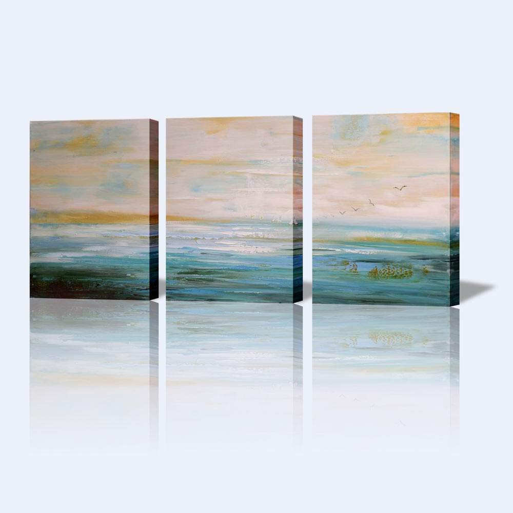 Abstract Art Painting for Wall Canvas Art Decor for Living Room 3 piece Pictures Ready to Hang wall decorations Artwork for walls Hand Painted Abstract Wall Art''Peaceful Lake'' by Artroad