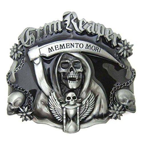 (Cool Black Grim Reaper Skull Skeleton Punisher Belt Buckle Cowboy Ghost Gothic)
