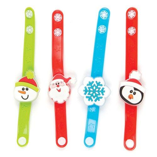 Baker Ross AV636 Flashing Bracelets Pack of 4 Light Up Toys for Kids Party Bag and Christmas Stocking Fillers Assorted