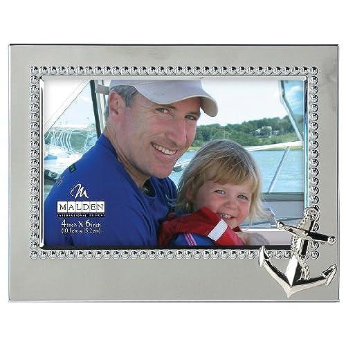 malden international designs vacation memories anchor silver beaded metal frame 4x6 silver - Nautical Picture Frames