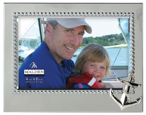 Malden International Designs Vacation Memories Anchor Silver Beaded Metal Frame, 4x6, Silver