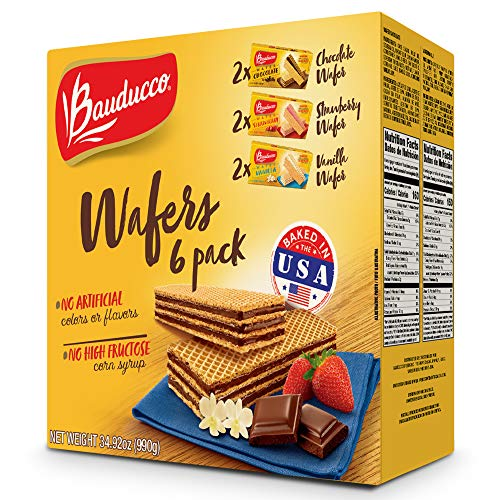 Bauducco Wafer Cookies - Contains 2x Vanilla, Strawberry, & Chocolate Wafer Cookies - No Artificial Flavors - 6 Pack (Brazilian Cookies)