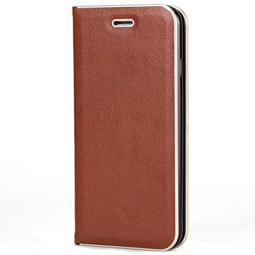 GHC Cases & Covers, Für iPhone 6 Plus & 6s Plus Cowhide Texture PC Stoßfänger Starke magnetische Adsorption Horizontale Flip Leder Tasche mit Card Slots & Holder ( Size : Ip6p7570z )