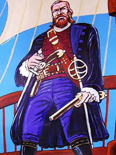 - BLACK SAILS ORIGINAL PAINTING man cave art starz tv series pirates captain flint blackbeard john silver cutlass pistol toby stephens