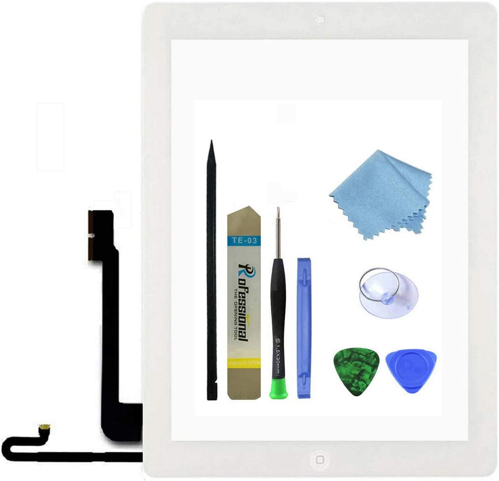 Zentop Touch Screen Digitizer Replacement Assembly for White iPad 4 Model A1458, A1459, A1460 with Home Button, Camera Holder ,Preinstalled Adhesive,Frame Bezel, Tool Kit.