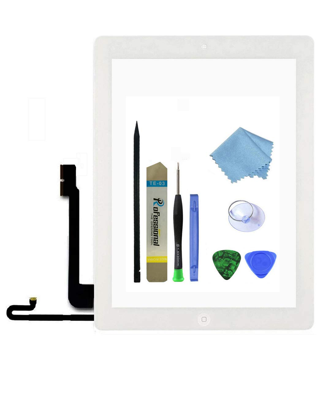 Zentop Touch Screen Digitizer replacement Assembly for White iPad 4 Model A1458, A1459, A1460 whith Home Button, Camera Holder ,Preinstalled Adhesive,Frame Bezel, tool Kit.