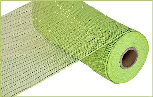 (10 inch x 30 feet Deco Poly Mesh Ribbon - Value Mesh (Apple Green, Lime Foil))