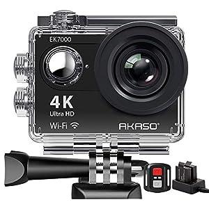 AKASO Caméra Sport Etanche 4k WiFi Action Cam 30fps, Caméscope Ultra HD, Écran LCD, Grand Angle 170°, 2 Batteries…
