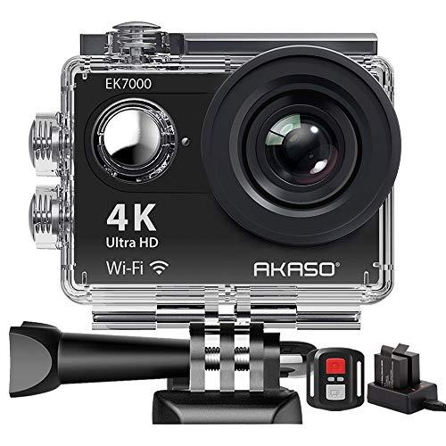 Action Cam,AKASO 4K WiFI Action Kamera /Unterwasserkamera 170°Ultra Weitwinkel Full HD Sports kamera mit 12MP 2 Zoll LCD Bildschirm 2.4G Fernbedienung