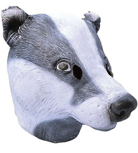 Adult Ladies Mens Badger Rubber Full Face Mask Animal Halloween Fancy Dress Costume Outfit Accessory (Badger) -