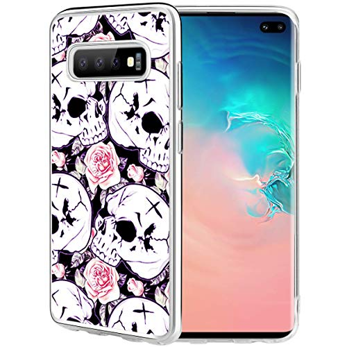 S10 Plus Cases Skull,Gifun [Anti-Slide] and [Drop Protection] Soft TPU Protective Case Cover for Samsung Galaxy S10 Plus/S10+ 2019 Release 6.4- Skeleton with Rose