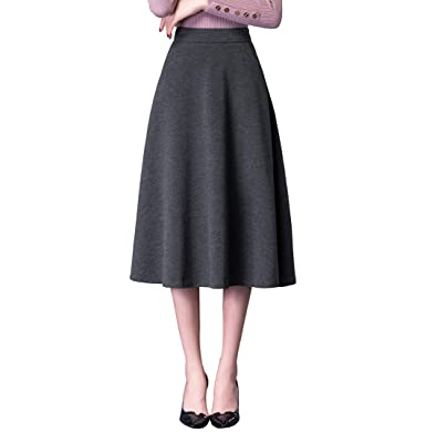 cf58f2a8b52dd2 Damen Vintage Elegante Hoher Taillen Wollrock - Mädchen Mode A Linie Herbst  Winter Warm Röcke Mode