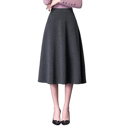 BiilyLi Vintage Caliente Larga Falda Otoño de Las Mujeres y la ...