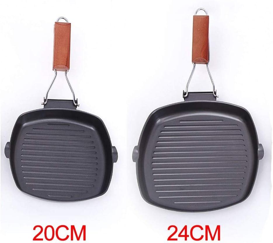 Zcm Poêle à Frire Antiadhésif Steak Skillet BBQ Pliable crêpière Friture Matériel de Cuisine Facile à Nettoyer Pan Fer Pique-Nique Camping (Color : 20cm) 20cm