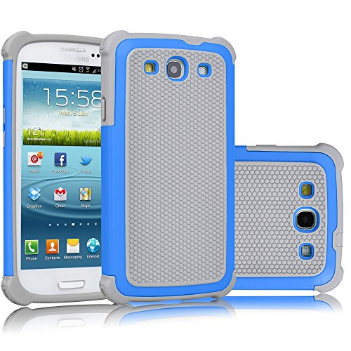 Galaxy S3 Case, Tekcoo(TM) [Tmajor Series] [Blue/Grey] Shock Absorbing Hybrid Rubber Plastic Impact Defender Rugged Slim Hard Case Cover Shell For Samsung Galaxy S3 S III I9300 GS3 All Carriers (S3 Cases Mini)