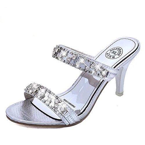WHLShoes Sandalias y chanclas para mujer Las Mujeres Los Zapatos De Tacón De Moda De Verano Elegante Con Strass En La Palabra Wild Casual silvery