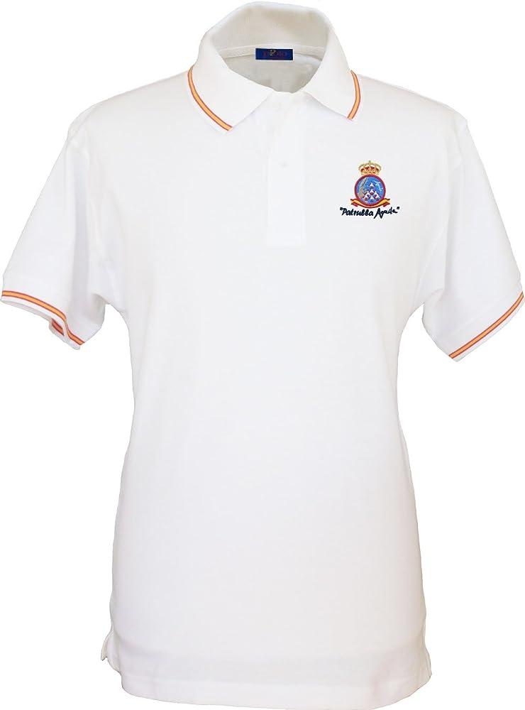 Pi2010 – Polo Patrulla Águila para Hombre, Color Blanco, Bandera España en Cuello y Mangas, 100% algodón Talla S: Amazon.es: Ropa y accesorios