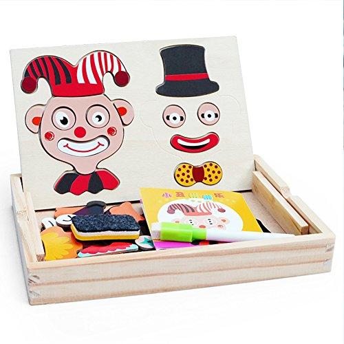 木製玩具磁気ドライ消去ボードパズル、TaiguangダブルJigsaw図面Easel黒板教育学習おもちゃ