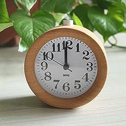 NEW! Circular Snooze Circular Modern Europe Needle Quartz Antique Wooden desktop table Alarm Clocks desk watch saat despertador