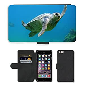"""Super Stella Cell Phone Card Slot PU Leather Wallet Case // M00421711 Turtle Underwater Water Swimming // Apple iPhone 6 PLUS 5.5"""""""