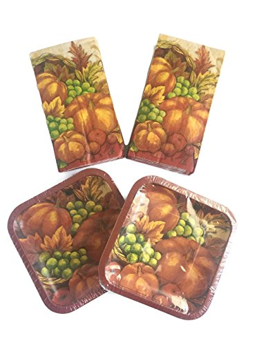 Thanksgiving Harvest Disposable Snack Plate & Napkin Bundle: 4 Items: Includes 2 Packs of Snack Plates (10 ct.), Plus 2 Packs of Dessert Napkins (20 ct.)