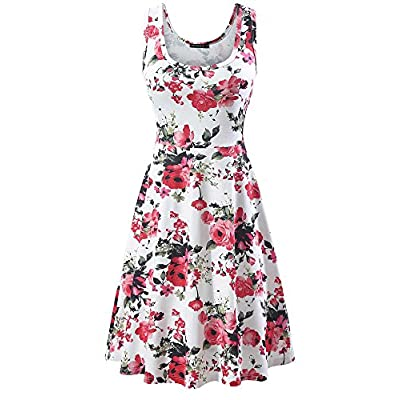 FENSACE Women's Scoop Neck Sleeveless Midi Casual Flared Tank Floral Printed Dress … at Women's Clothing store