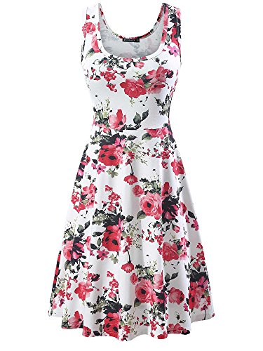 FENSACE Women's Sleeveless Scoop Neck Summer Beach Midi Flare Printed Tank Dress (Large, - Dress Flare Sleeveless