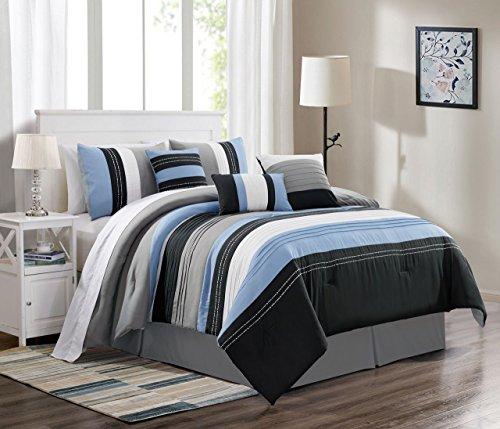 7 Piece Blair Blue/Black/Gray Comforter Set King