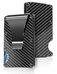 Carbon Fiber Wallet RFID Blocking Credit Card Holder Metal Wallet With Money Clip Screw Fixation Elastic Band Screwdriver