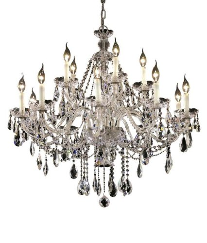 Elegant Lighting 7829G35C/RC Alexandria 31-Inch High 15-Light Chandelier, Finish with Crystal (Clear) Royal Cut RC Crystal, 35