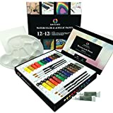 Art Kit with Watercolor and Acrylic Paint Set by AEM Hi Arts - 12 Professional Quality Liquid Watercolor Paints, 12 Premium Quality Acrylic Paint Tubes - Perfect for Artists, Students & Beginners