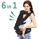 Windsleeping Toddler Baby Carrier with Hood for All Seasons,6-in-1 Ways to Carry,Hip Seat Carrier Front and Back,Silicone Skid-Proof Seat Surface,Suit for Infant,Toddler,Kids,Newborn - Black