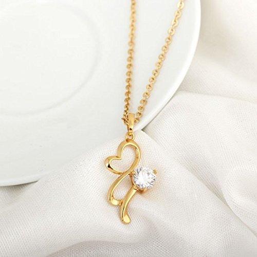Collier coeur plaqué or zirconium