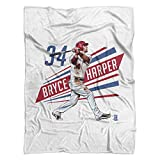 500 LEVEL's Bryce Harper Soft And Warm Fleece Blanket For Washington Baseball Fans - Bryce Harper Outline R