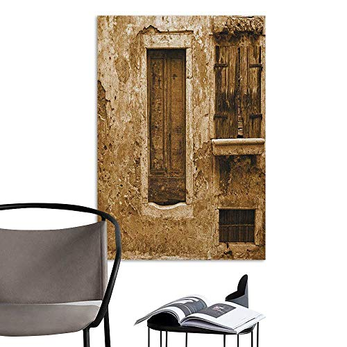 Camerofn Stickers Wall Murals Decals Removable Country Vintage Photo of Old House Traditional European Architecture Window Image Print Brown Cream Elevator Stairs Wall W32 x H48