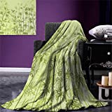 smallbeefly Forest Digital Printing Blanket Tropical Style Woodland Spiritual Nature Spa Chakra Zen Yoga Concept Summer Quilt Comforter 80''x60'' Pale Green Dark Green