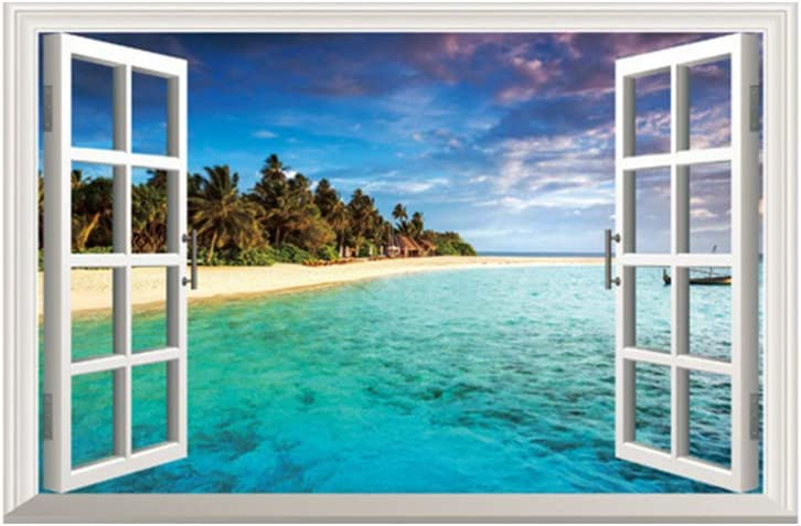 Vosarea Etiqueta de la pared de la ventana falsa 3d calcomanías del paisaje del mar póster de pared de cáscara y palo extraíble para el fondo del sofá del dormitorio de la casa
