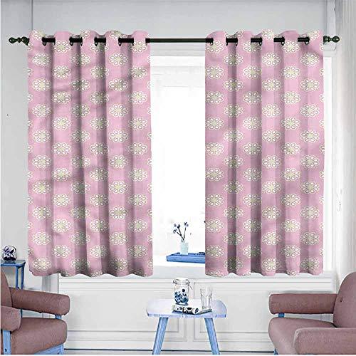 - VIVIDX Window Curtain Panel,Kids,Daisy Flowers Pattern on Pink,for Bedroom Grommet Drapes,W63x63L